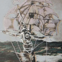 """Ringo Signed """"Man Ship"""" 16x20 Custom Framed One-of-a-Kind Mixed Media Painting on Canvas at PristineAuction.com"""