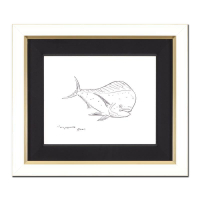 "Wyland Signed ""Tropical Fish"" 22x19 Custom Framed Original Sketch"