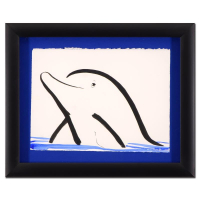 "Wyland Signed ""Dolphin"" 20x16 Custom Framed Original Sumi Ink & Watercolor Painting"