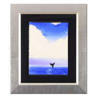 "Wyland Signed ""Whale Tail"" 21x26 Custom Framed Original Watercolor Painting at PristineAuction.com"
