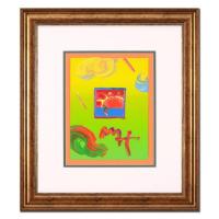 "Peter Max Signed ""Sunrise Sail"" 19x22 Custom Framed One-Of-A-Kind Acrylic Mixed Media"