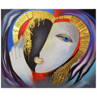 """Arbe Signed """"Sweetheart"""" 20x24 Original Mixed Media Painting with Gold Embellishing on Stretched Canvas"""