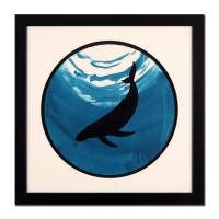 "Wyland Signed ""Whale"" 28x28 Custom Framed Original Watercolor Painting at PristineAuction.com"