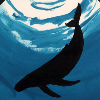 """Wyland Signed """"Whale"""" 28x28 Custom Framed Original Watercolor Painting at PristineAuction.com"""