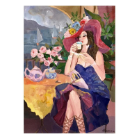 "Isaac Maimon Signed ""Pleasure Cafe"" 49x36 Original Acrylic Painting on Canvas"