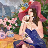 """Isaac Maimon Signed """"Pleasure Cafe"""" 49x36 Original Acrylic Painting on Canvas at PristineAuction.com"""