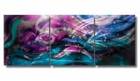 "Nicholas Yust Signed ""Esne X1"" 24x60x1 Original 3 Panel Metallic Art at PristineAuction.com"