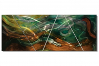 "Nicholas Yust Signed ""Esne X2"" 24x60x1 Original 4 Panel Metallic Art at PristineAuction.com"