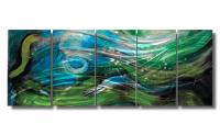 "Nicholas Yust Signed ""Esne X5"" 24x60x1 Original 5 Panel Metallic Art at PristineAuction.com"