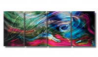 "Nicholas Yust Signed ""Esne X6"" 24x60x1 Original 4 Panel Metallic Art"