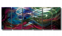 "Nicholas Yust Signed ""Esne X7"" 24x60x1 Original 5 Panel Metallic Art"