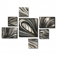 "Nicholas Yust Signed ""Shadow Lines Set"" 54x70x1 Original 7 Panel Metallic Art at PristineAuction.com"