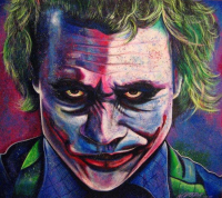 """Bill Lopa Signed The Dark Knight """"The Joker"""" 30x40 Limited Edition AROC Hand-Embellished Giclee on Canvas"""