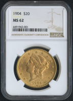 1904 $20 Liberty Head Double Eagle Gold Coin (NGC MS 62)