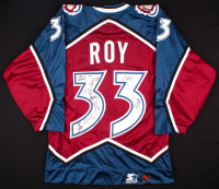 Patrick Roy Signed 2000-01 Avalanche Team-Issued Jersey with (9) Other Team-Member Signatures (PSA LOA)