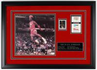 Michael Jordan Signed Bulls 19.25x26.5 Custom Framed Photo Display with '85 Marchante Rookie Card & 1992 Barcelona Olympics Ticket (JSA LOA)