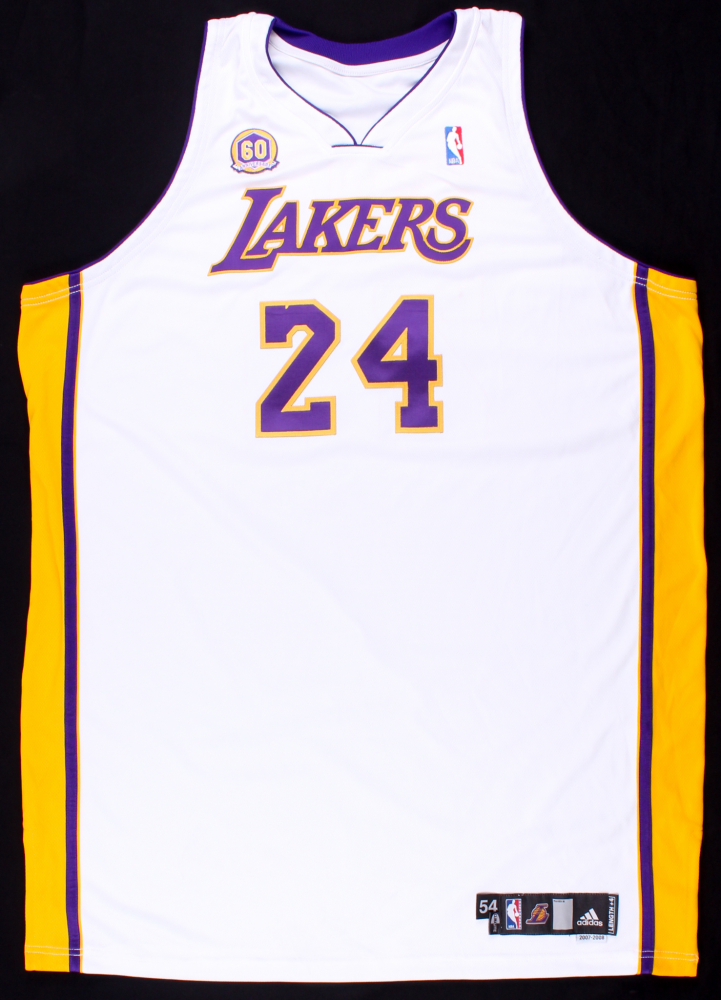 90eadfbdafe Kobe Bryant 2007-08 Lakers Game-Used Basketball Jersey (DC Sports  Collectibles LOA). Lakers 60th Anniversary Patch