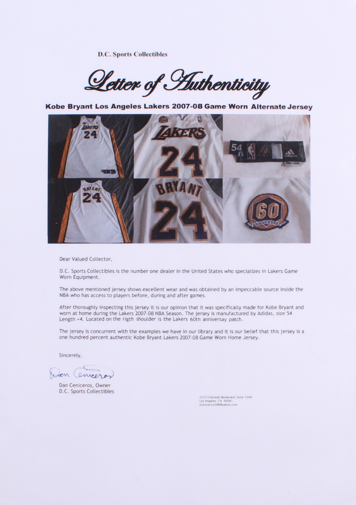 504c285eea6 Kobe Bryant 2007-08 Lakers Game-Used Basketball Jersey (DC Sports  Collectibles LOA