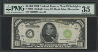 1934 $1000 One Thousand Dollars Federal Reserve Note - CA Block - FR#2211 - Clgs Light Green (PMG 35)
