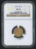 1912 $2.50 Indian Quarter Eagle Gold Coin (NGC AU 55)