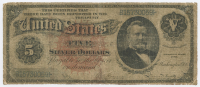 1886 $5 Five Dollar Silver Certificate Large Size Bank Note