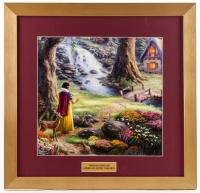 "Thomas Kinkade Walt Disney ""Snow White Discovers the Cottage"" 17.5x18 Custom Framed Print Display"