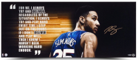 "Ben Simmons Signed Philadelphia 76ers ""Deliver"" 15x36 Photo (UDA COA) at PristineAuction.com"