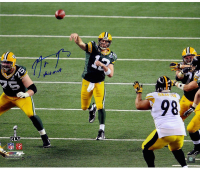 """Aaron Rodgers Signed LE Packers """"SB XLV"""" 20x24 Photo Inscribed """"XLV MVP (Steiner COA)"""