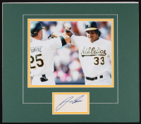 Jose Canseco Signed Athletics 14x16 Custom Matted Cut Display (Palm Beach COA)