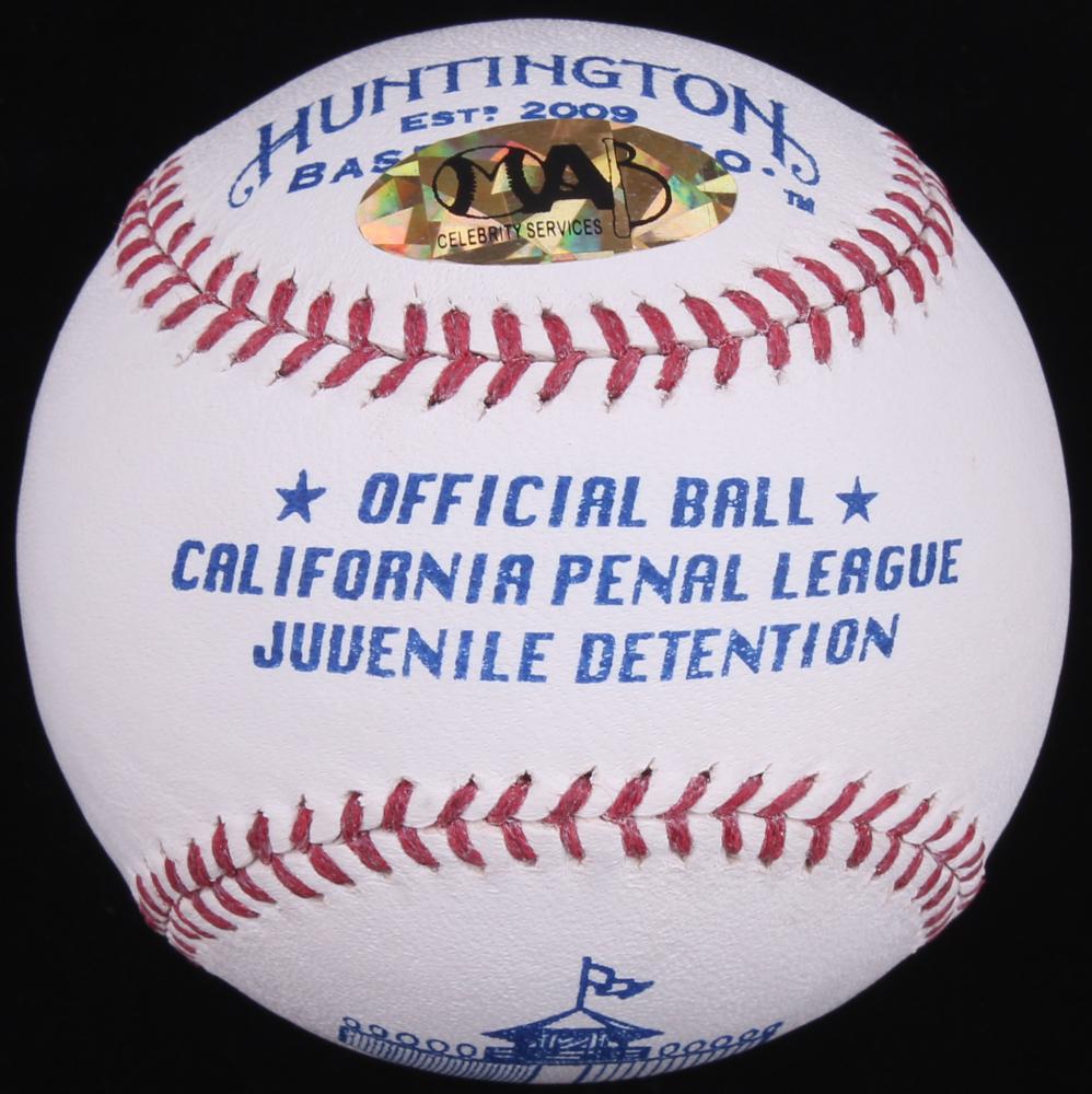 sheen signed california penal league logo baseball