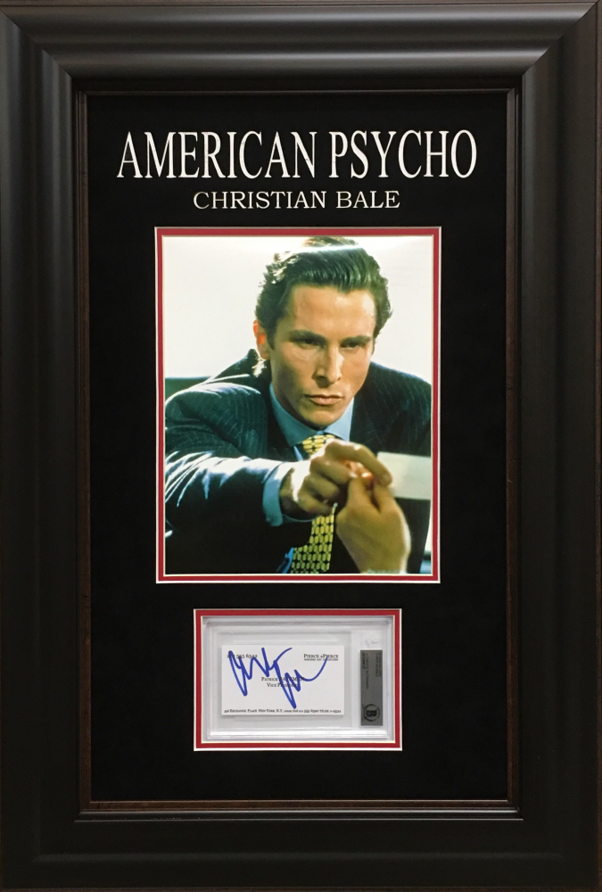 Online sports memorabilia auction pristine auction christian bale signed american psycho 17x25 custom framed display with hand signed prop replica patrick reheart Gallery