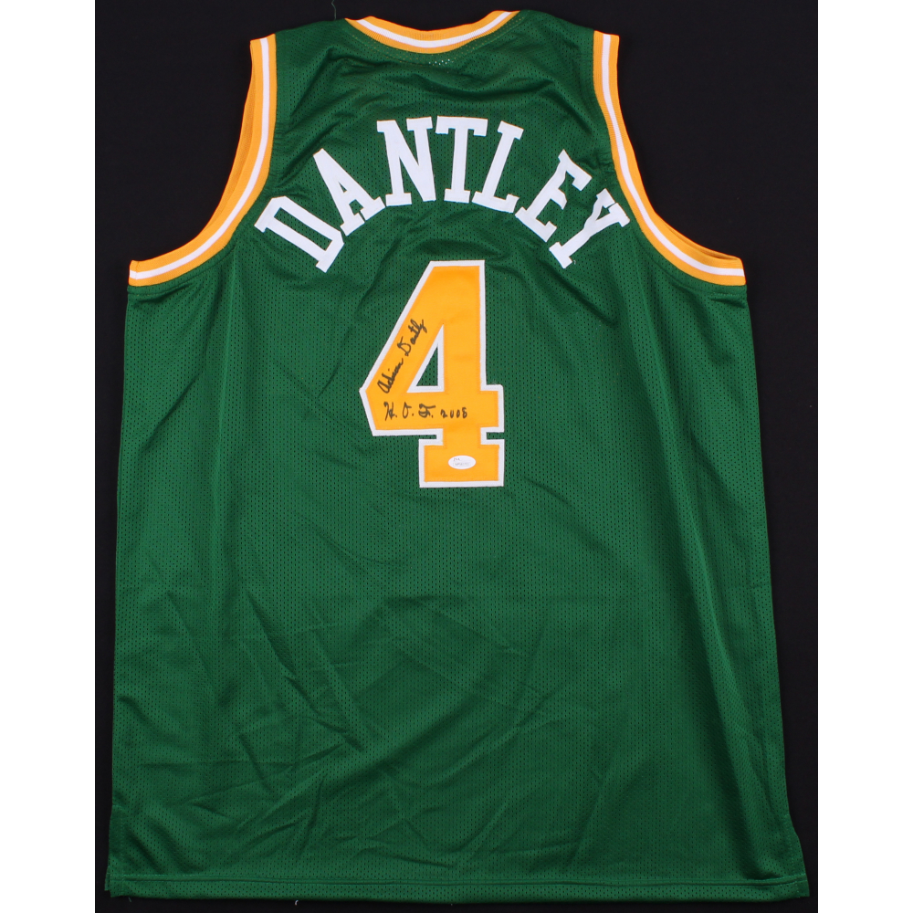 Adrian Dantley Signed Jazz Jersey Inscribed