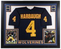 Jim Harbaugh Signed Michigan Wolverines 35x43 Custom Framed Jersey (JSA COA)