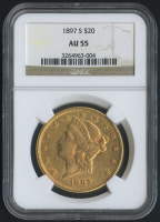 1897-S $20 Liberty Head Double Eagle Gold Coin (NGC AU 55)