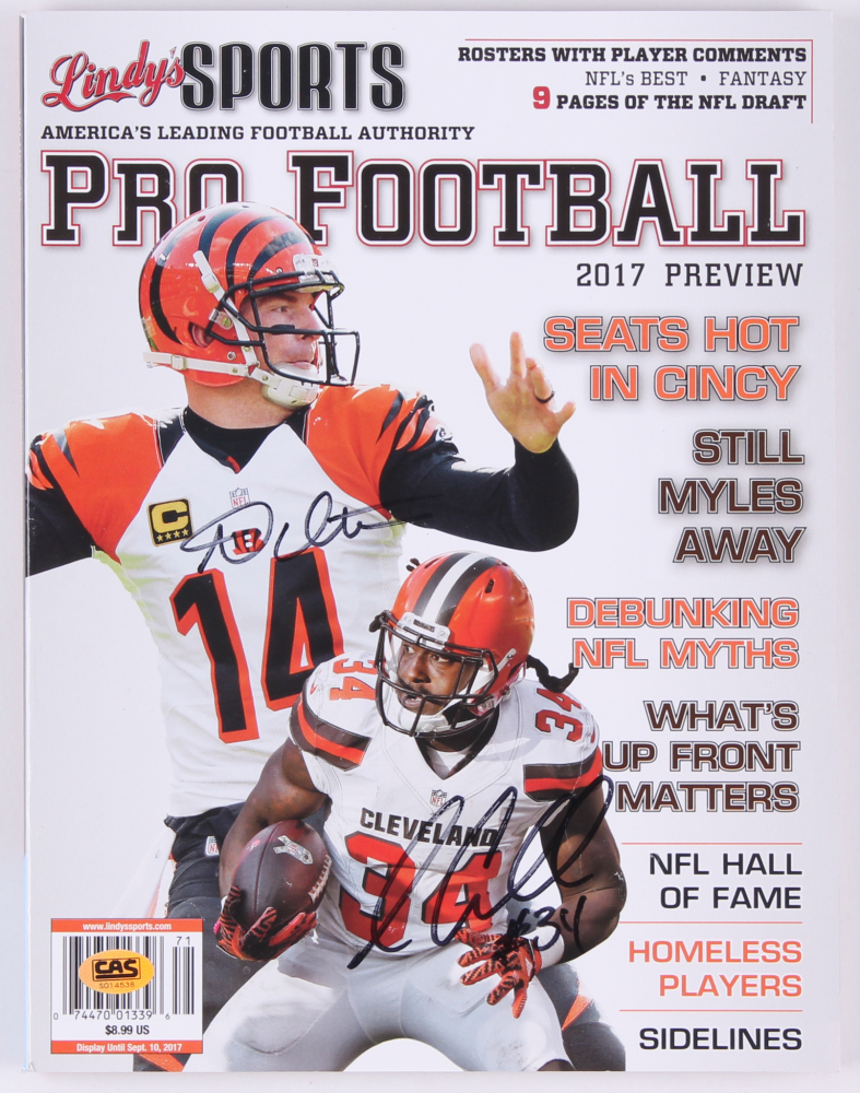 15caae94832 Andy Dalton   Isaiah Crowell Signed 2017 Lindy s Pro Football Magazine (CAS  Hologram)