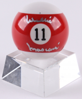Willie Mosconi Signed #11 Pool Ball With Lead Crystal Stand (JSA COA)