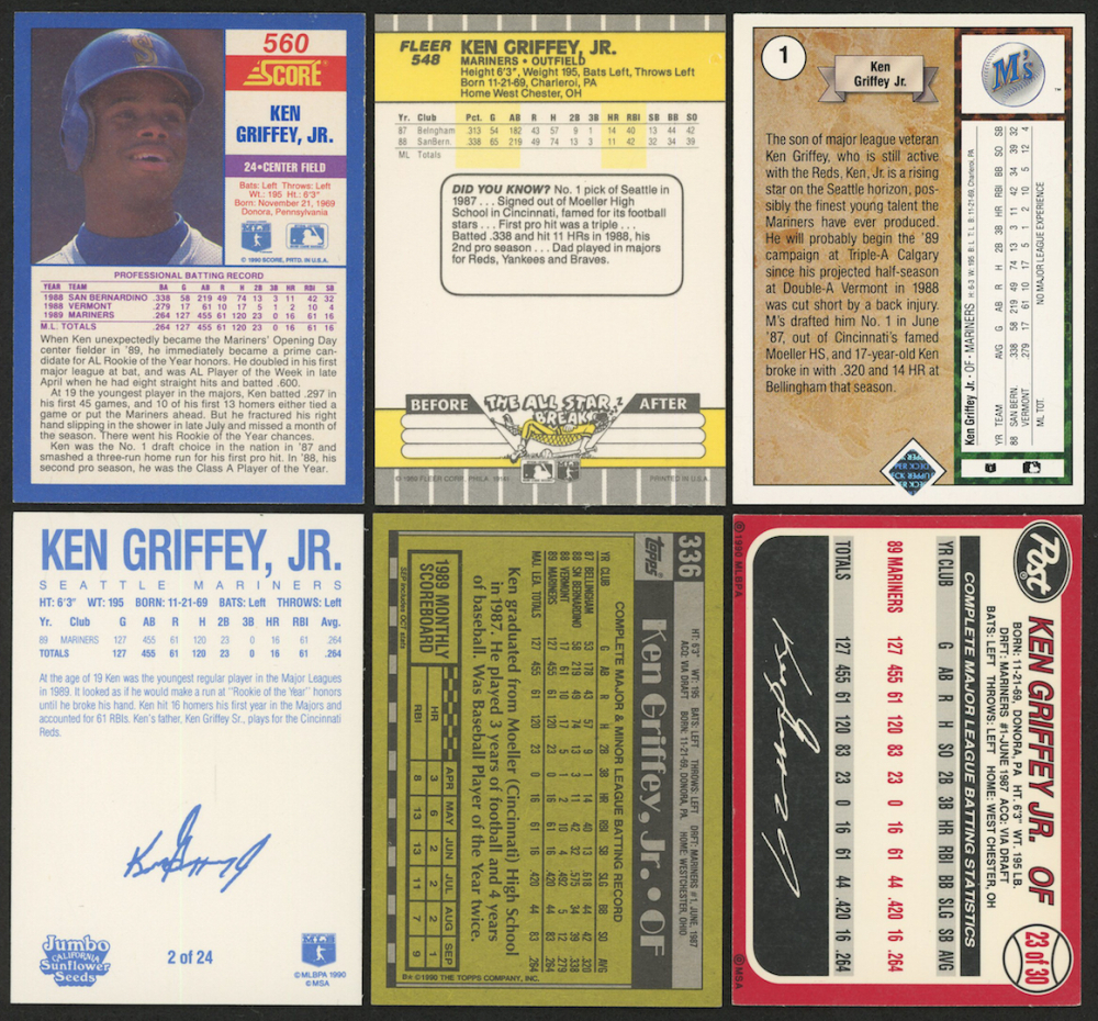 b2f97476bc Lot of (6) Ken Griffey Jr. Baseball Cards with 1990 Score #560
