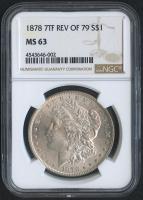 1878 $1 Morgan Silver Dollar - 7TF REV of 79 (NGC MS 63) at PristineAuction.com