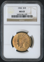 1932 $10 Ten Dollars Indian Head Eagle Gold Coin (NGC MS 63)