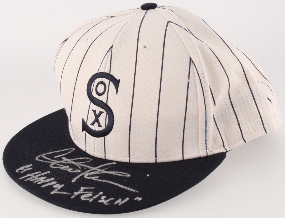 """778d566d3 Charlie Sheen Signed """"Eight Men Out"""" White Sox 1917 Throwback Baseball Hat  Inscribed"""