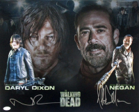 "Norman Reedus & Jeffrey Dean Morgan Signed ""The Walking Dead"" 16x20 Photo (JSA COA)"