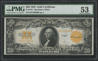 1922 $20 Twenty Dollars U.S. Gold Certificate Large Size Bank Note (PMG 53)