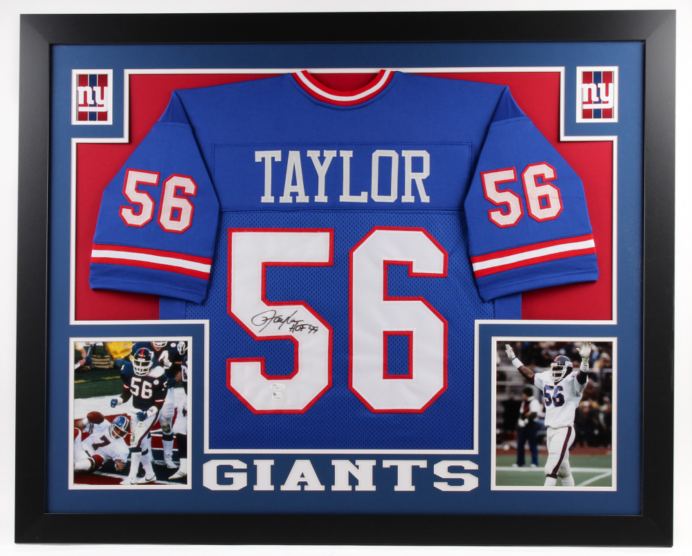 784796d904a Lawrence Taylor Signed Giants 35x43 Custom Framed Jersey Inscribed