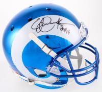 """Eric Dickerson Signed Rams Full-Size Custom Blue Chrome Helmet Inscribed """"HOF 99"""" (Schwartz COA)"""