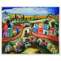 """Shlomo Alter Signed """"Busy Day in the Country"""" Limited Edition 22x18 Serigraph at PristineAuction.com"""