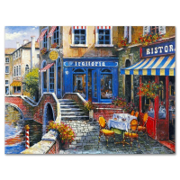 """Anatoly Metlan Signed """"Outdoor Cafe"""" Limited Edition 12x9 Lithograph at PristineAuction.com"""
