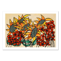 "Avi Ben-Simhon Signed ""Sunflowers"" Limited Edition 29x20 Serigraph"