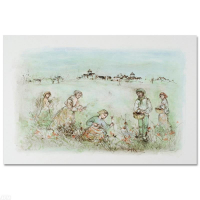 """Edna Hibel Signed """"Tuscan Fields"""" Limited Edition 25x35 Lithograph at PristineAuction.com"""