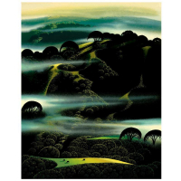 "Eyvind Earle Signed ""Fog Draped Hills"" Limited Edition 20x16 Serigraph on Paper at PristineAuction.com"