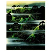 "Eyvind Earle Signed ""Early Morning Fog"" Limited Edition 20x16 Serigraph on Paper at PristineAuction.com"